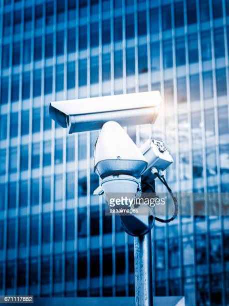 CCTV security camera front of buildings