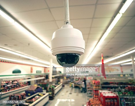 security camera in grocery store closeup stock photo getty images. Black Bedroom Furniture Sets. Home Design Ideas