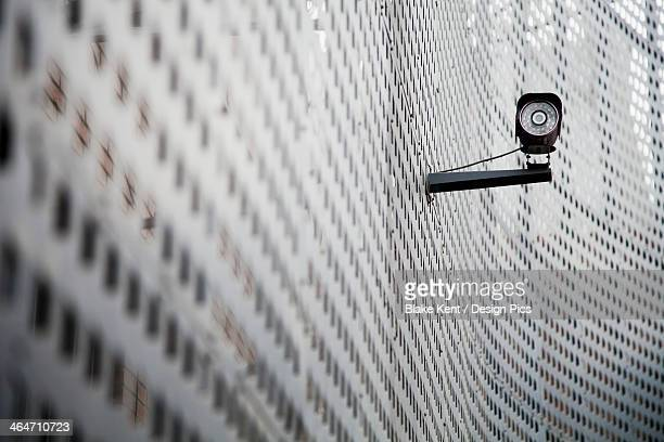 Security Camera On Curving Metal Wall