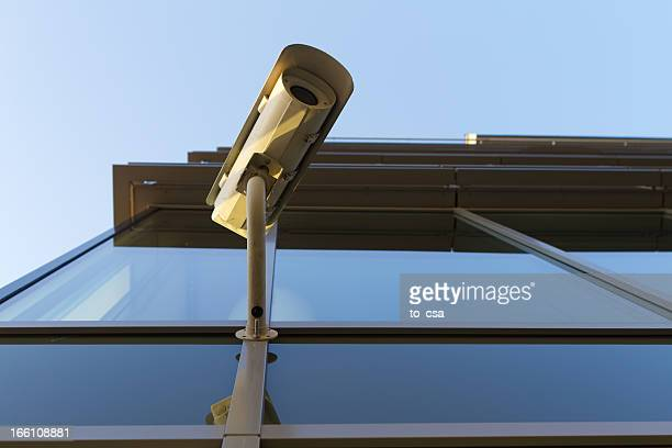 Security camera on the glass building