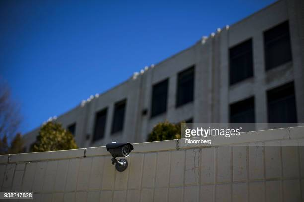 A security camera sits outside the Russian Embassy in Washington DC US on Monday March 26 2018 PresidentDonald Trumpordered 60 Russian diplomats...