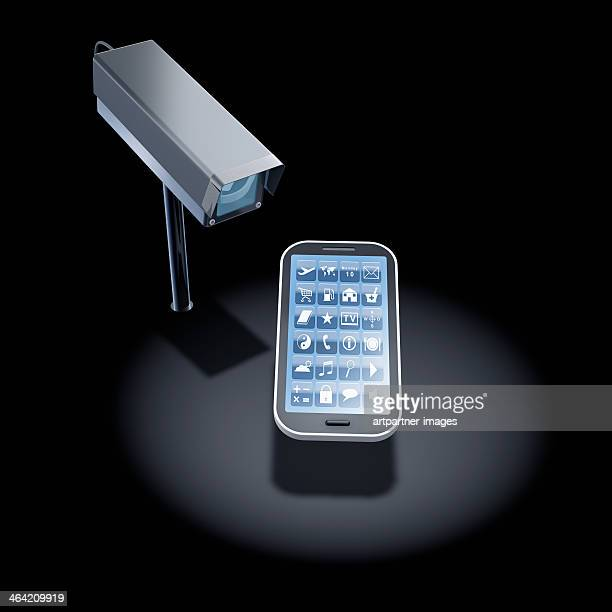 Security camera surveilling a smart phone
