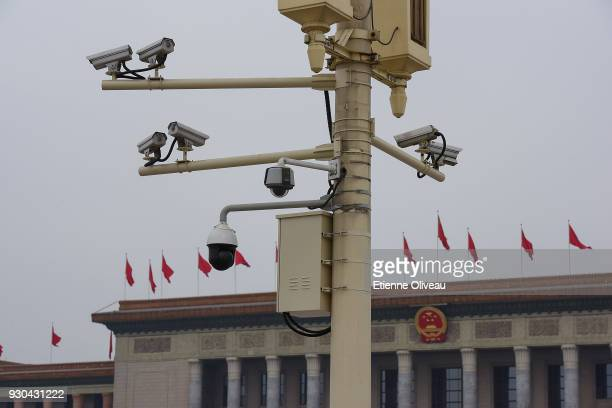 Security cameras in Tiananmen square before the third plenary session of the first session of the 13th National People's Congress at The Great Hall...