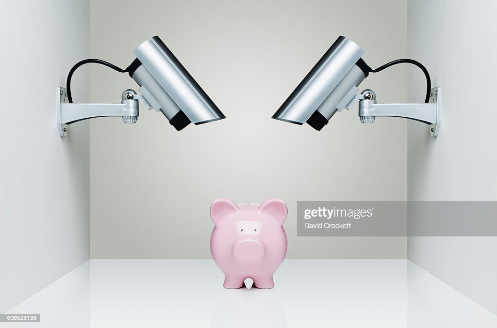 Security Cameras watching a piggy bank : Stock Photo