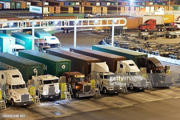 Security checkpoint for trucks with fresh cargo leaving port