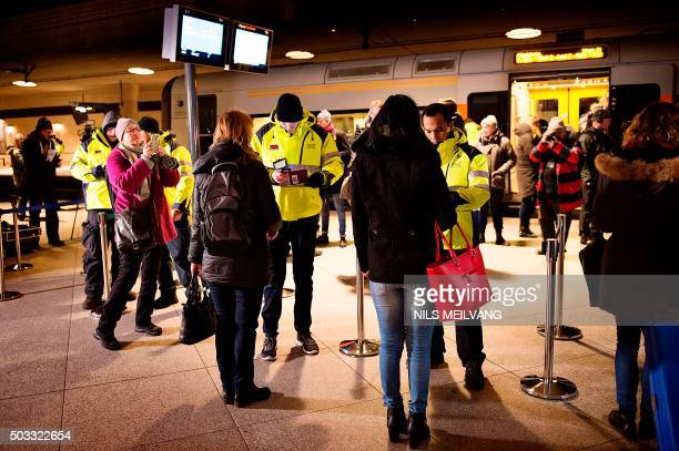 Security checks travellers IDs on January 4 2016 at the train station in Kastrup the last stop before Sweden For the first time in half a century...