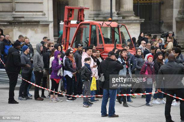 Security clear The Louvre following a bomb scare Emmanuel Macron will celebrate here later should he win the French election on May 7 2017 in Paris...