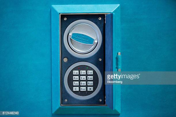 A security code keypad sits on a Fortress luxury bespoke security safe at the Doettling GmbH headquarters in Magstadt Germany on Thursday Feb 25 2016...