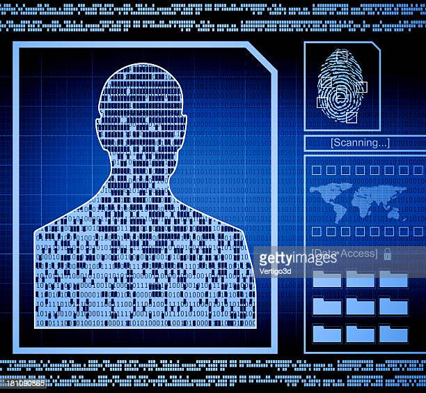 Security concept with a man's person information exposed