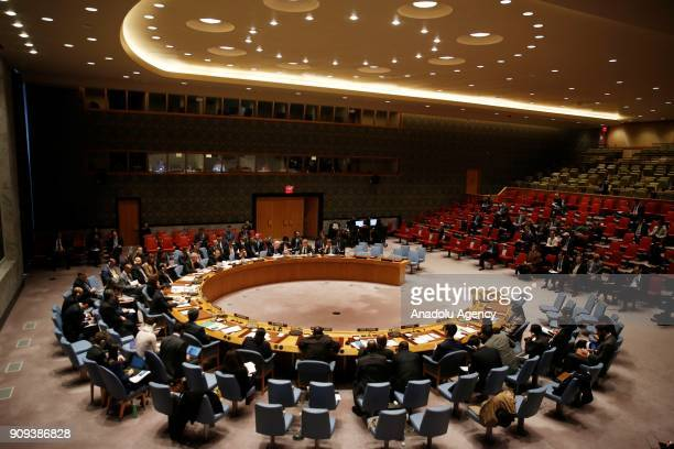 Security Council meeting is being held to discuss chemical weapons in Syria at the United Nations headquarters in New York United States on January...
