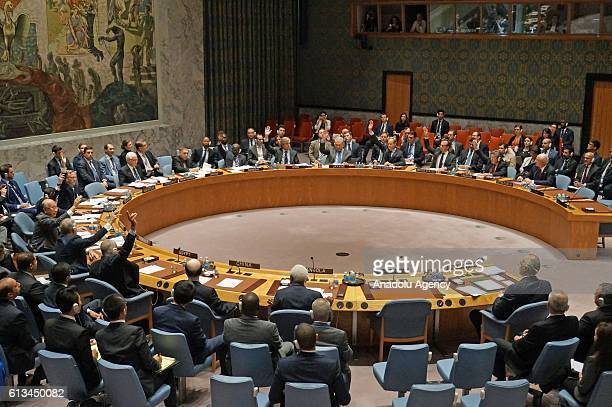 Security Council members vote for a proposal on Aleppo during UN Security Council meeting in New York on October 8 2016