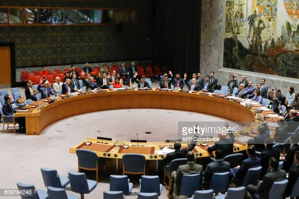 UN Security Council members vote on a USdrafted resolution toughening sanctions on North Korea at the United Nations Headquarters in New York on...