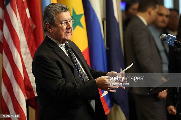 Security Council President Elbio Rosselli makes comments to the media on the situation in North Korea following a Security Council closeddoor meeting...