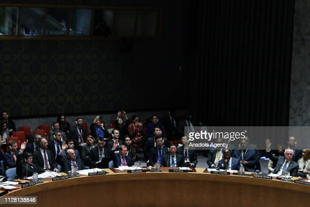 Security Council votes a draft resolution put forward by the United States during an United Nations Security Council at United Nations headquarters...