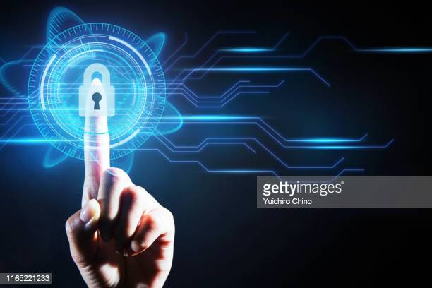 security digital padlock with futuristic interface - data privacy stock pictures, royalty-free photos & images