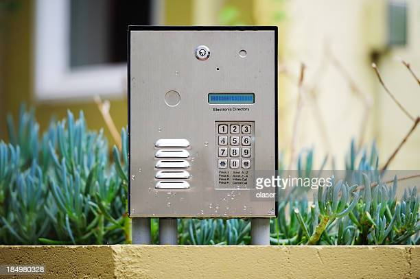 Security equipment, speaker, keypad next to entrance
