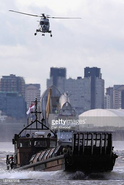Security exercise takes place along the River Thames on January 19, 2012 in London, England. The exercise including around 44 police officers, 94...