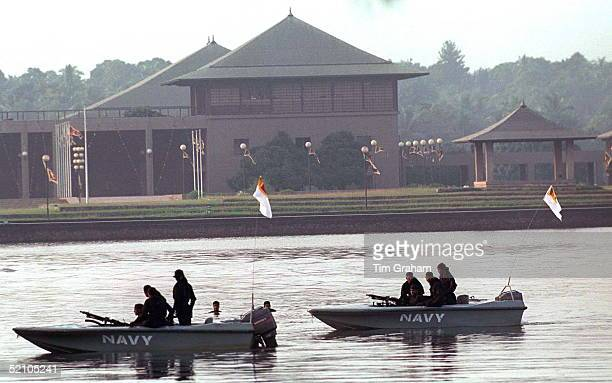 Security For The Prince Of Wales' Visit As Special Forces Examine The Lake Surrounding The Parliament Building In Colombo Sri Lanka