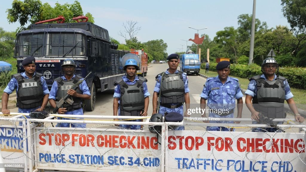 Security force at Chandigarh border after the clash between dera followers and security force in Panchkula on August 26 2017 in Chandigarh India At...