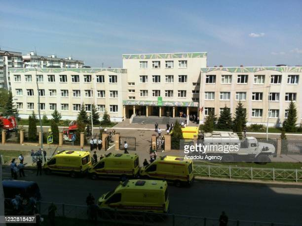 Security forces and health staff arrive at scene after an armed school attack carried out in Tatarstan's capital Kazan in Russia, casualties feared,...