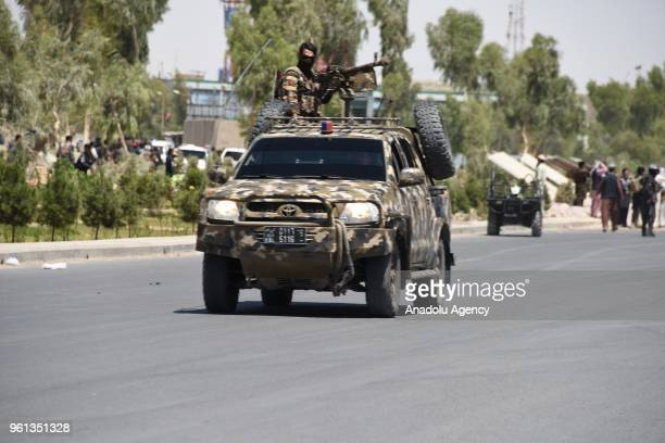 Security forces are dispatched to scene after an attack carried out with a bombladen vehicle in Kandvali district of Afghanistan's Kandahar province...