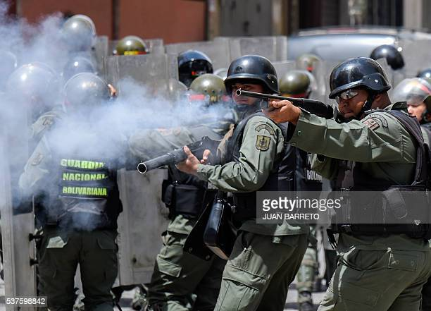 TOPSHOT Security forces clash with people trying to reach Miraflores presidential palace to protest against the severe food and medicine shortages in...