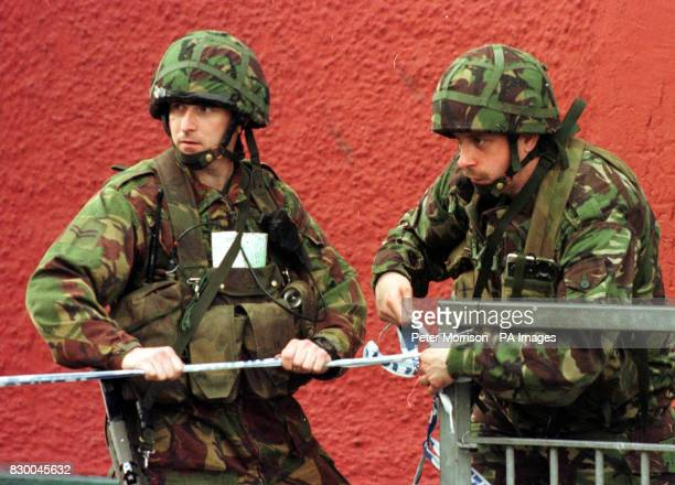Security forces close off a road in Newry County Armagh Northern Ireland this evening after an abortive mortar attack on an RUC police station Photo...