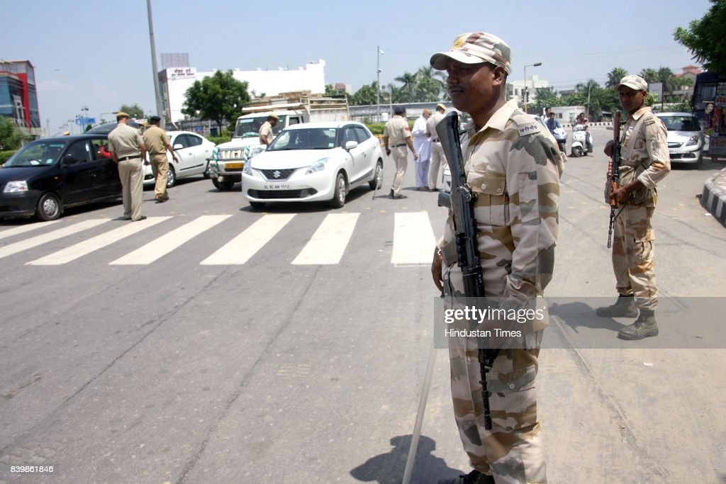 Security forces deployed at main chowk and near Rohtak jail premises to keep unwanted elements at bay in wake of punishment announcement to Gurmeet...