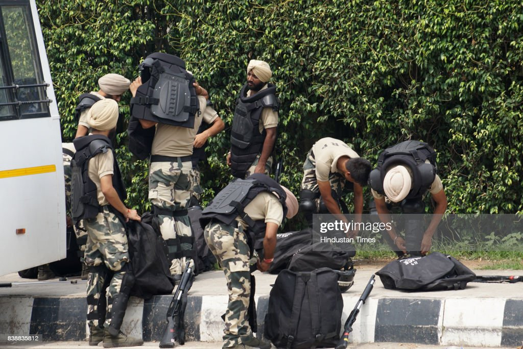 Security forces deployed in Panchkula ahead of CBI court Final hearing of Sant Ram Rahim Singh Insan Rape and Murder case on August 25 2017 in...