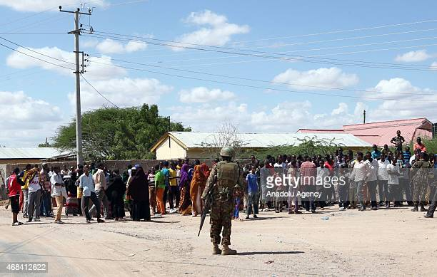 Security forces guard after Al-Shabaab terrorists shot the students' way into Garissa University College, at least 147 students were killed and 79...
