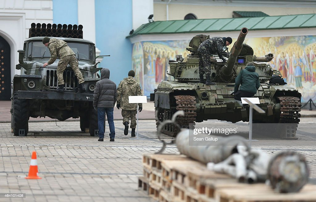 Ukraine Exhibits Weaponry To Prove Russian Involvement In Donbas Fighting : News Photo