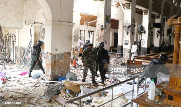 Security forces inspect the St Anthony's Shrine after an explosion hit St Anthony's Church in Kochchikade in Colombo Sri Lanka on April 21 2019...