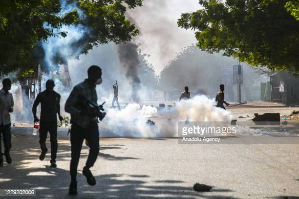 Security forces intervene in protesters with tear gas during a protest against economic crisis and high cost of living in Khartoum, Sudan on October...