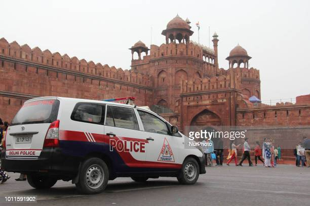 Security forces keep vigil on Pedestrians near India Gate Ahead of India's 72nd independence Day in Delhi India on 5 August 2018 Independence Day is...