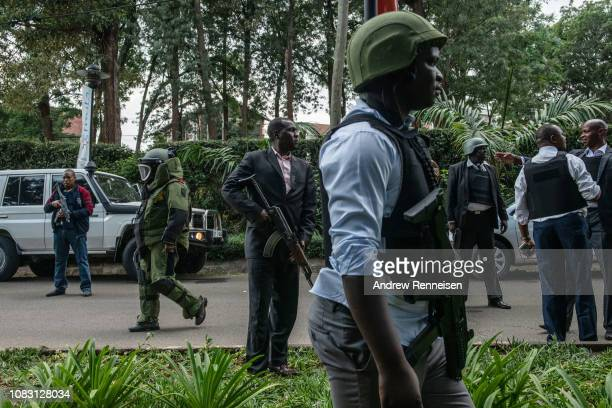Security forces outside Dusit Hotel on January 15 2018 in Nairobi Kenya A current security operation is underway after terrorists attacked the hotel