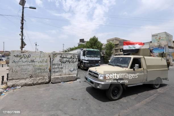 Security forces patrol at Sadr City and its surroundings within precautions against coronavirus outbreak in Baghdad, Iraq on May 29, 2020.