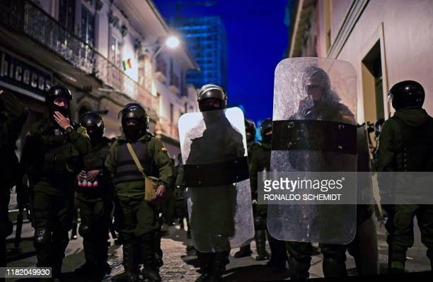 Security forces patrol the streets of La Paz on November 12 2019 after Jeanine Anez a deputy speaker of the senate proclaimed herself Bolivia's new...