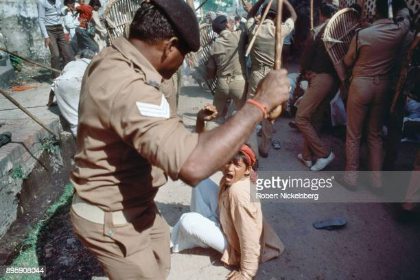 Security forces push back Hindu activists from entering into the Babri Mosque October 30 1990 in Ayodhya India The Hindu rightwing party Bharatiya...