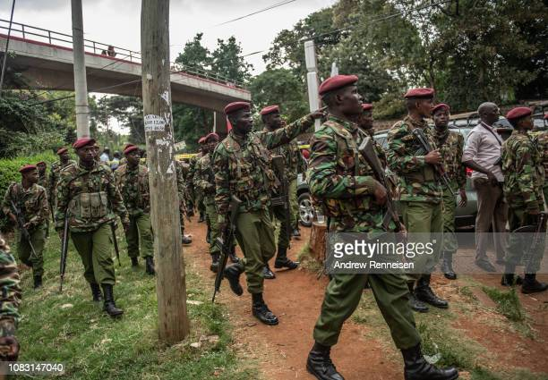 Security forces stage outside Dusit Hotel on January 15 2018 in Nairobi Kenya A current security operation is underway after terrorists attacked the...