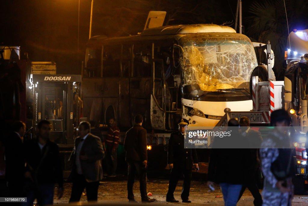 Roadside Bomb Explodes Killing Tourists Near Pyramids In Giza : News Photo