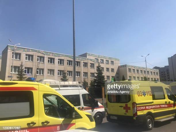 Security forces take measurements after an armed school attack carried out in Tatarstan's capital Kazan in Russia, casualties feared, on May 11, 2021.