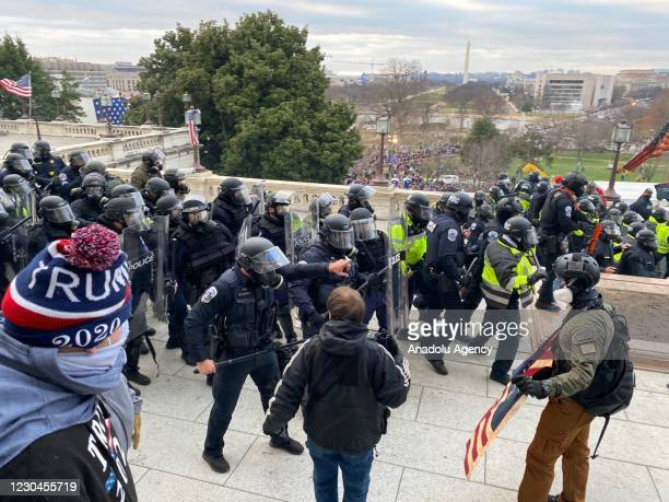 Security forces take measures at the entrance of US Capitol and respond after the US President Donald Trumps supporters breached the US Capitol...