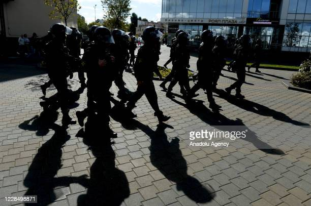 Security forces take measures during a rally against presidential election results, in central Minsk, Belarus on September 13, 2020. The Belorussian...