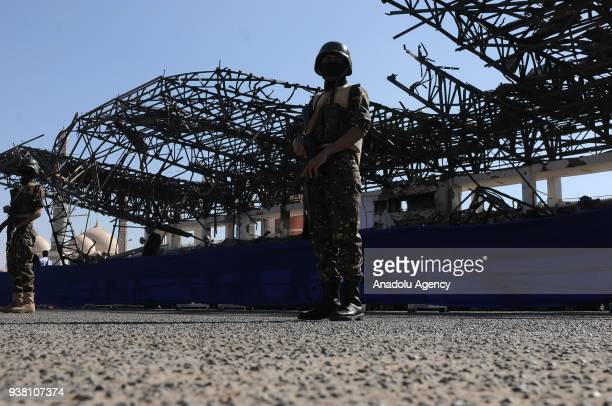 Security forces take security measures as Houthis gather to protest the Saudiled operations during a rally on the third anniversary of the Operation...