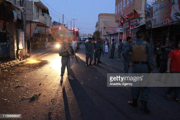 Security forces take security measures at scene after a blast occurred around 7 p.m. In Haji Abbas area and targeted civilians in Herat, Afghanistan...
