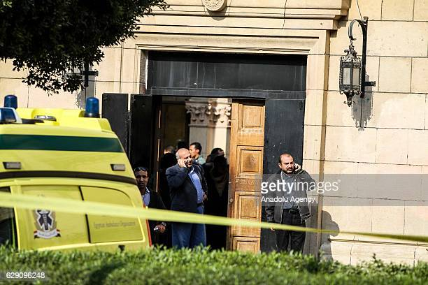 Security forces take security measures at site after an explosion at Saint Mark's Coptic Orthodox Cathedral in Cairo Egypt on December 11 2016