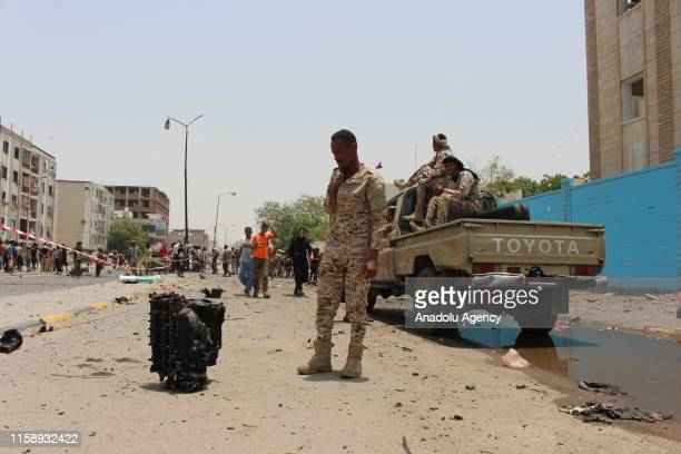 Security forces take security measures at the site of a car bomb attack took place at police station which was happened as conscripts were gathering...