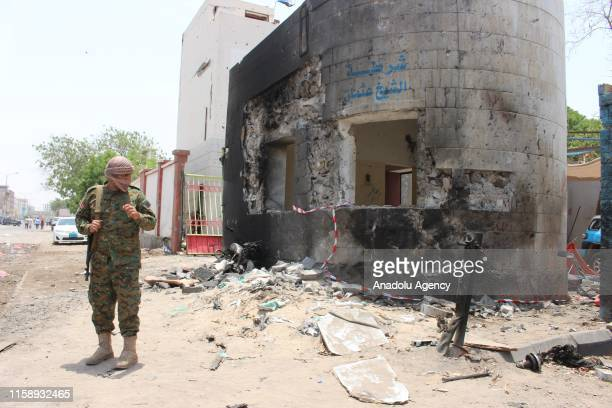 Security forces take security measures at the site of a car bomb attack took place at police station, which was happened as conscripts were gathering...