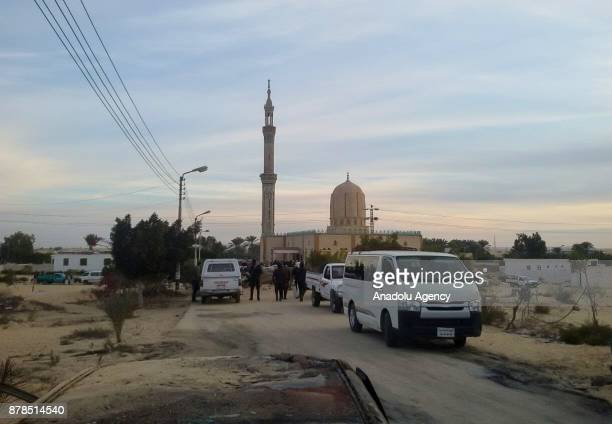 Security forces take security measures at the site of the Egypt Sinai mosque bombing in AlArish Egypt on November 24 2017 The death toll from a bomb...