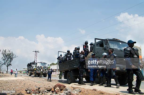 Security forces take security measures just in case people stage a protest after postponing of the general and presidential elections due to...